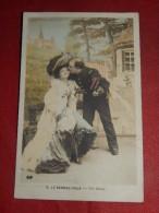 """FANTAISIES -  COUPLES - """" Le Rendez-vous - Un Baiser """"  -   1906  -   (2 Scans) - Couples"""