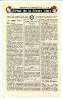 WWII WW2 Tract F.91 Revue De La Presse Libre Supplément Du Courrier De L´Air No.23  FREE SHIPPING WORLDWIDE - Oude Documenten