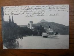 """Lac D´annecy , Duingt Le Port Et Le Château """""""" Carte Animée Beau Bateau """""""" - Duingt"""