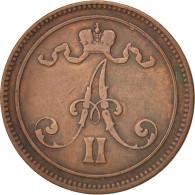Finlande, Alexandre II, 10 Pennia, 1866, Cuivre, KM:5.1 - Finlande