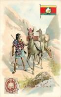 LA POSTA IN BOLIVIA. BELLA ILLUSTRAZIONE - CARTOLINA ANNI '40 - '50 DITTA BRIOSCHI DI MILANO - PUBBLICITA' LYSOFORM - Bolivia