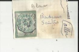 1 Timbre _Tampon Convoyeur - _Bordeaux--Saintes_Blanc 5 Cts _Aller - Marcophily (detached Stamps)