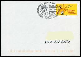 37290) BRD - Ganzsache USo 61 - SoST In 71063 SINDELFINGEN Vom 26.10.2003 Tag Der Briefmarke, 75J. O-W-Atlantikflug - BRD