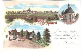 Lithographie-Gruss Aus St Annen (Friedrichstadt-Lunden-Schleswig-Holstein)+/-1900-Gastwirtschaft-Grotenjeck-Kirche-rare - Lunden