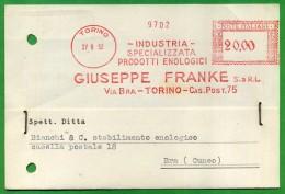 EMA - GIUSEPPE FRANKE - TORINO - 1952 AFFRANCATURA MECCANICA ROSSA  L. 20,00 - Affrancature Meccaniche Rosse (EMA)