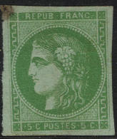 # France 41b, Used, VF, Emerald  Lithographed, Sound, RARE(fr041-11, Michel 39c   [16-ABER - 1870 Emission De Bordeaux