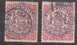 Southern Rhodesia: 1896 -7 1897, 6d, X2 , Used, - Southern Rhodesia (...-1964)