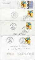ANNEE 2000 TINTIN N° 3303 (dont Un Avec Vignette De Carnet) 4 Enveloppes - 2 Scans - France