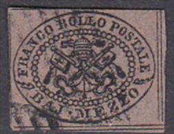 Italian States Papal States 1852 Baj Mezzo Used - Papal States