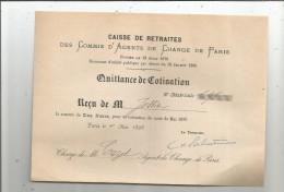 Reçu , 1890 , Caisse De Retraites Des COMMIS D´AGENTS DE CHANGE DE PARIS - 1800 – 1899
