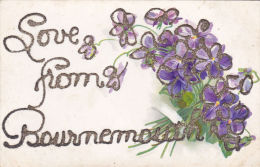 EMBOSSED GLITTERY GREETINGS. LOVE FROM BOURNEMOUTH - Bournemouth (until 1972)