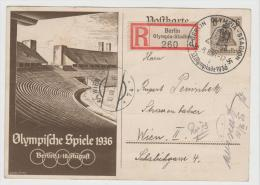 Oy173 / Sommerolympiade 1936. Ganzsache, Sonderstempel, Sonder.R-Zettel + Sondermarken Rückseitig - Verano 1936: Berlin