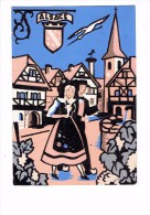 Carte En Tissu Feutrine - ALSACE - Enseigne Femme Homme Folklore Nid Cigogne - Lazarus Freres - Borduurwerk