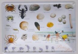 Carte Postale En Métal émaillé - Pêche à Pied En Bretagne - Voir Recto Et Verso - Cartes Postales