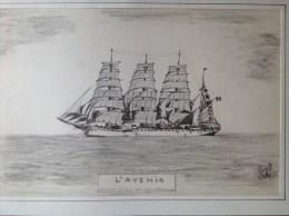 L'Avenir - Voilier - Navire Ecole Belge 4 Mats Barque - Lot De 3 Dessins Originaux - Crayon Noir - Datés 1985 - Nautique & Maritime