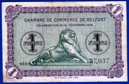 BON - BILLET - MONNAIE - 1918 CHAMBRE DE COMMERCE 1 FRANC TERRITOIRE DE BELFORT 90000 TAMPON ROUGE AU VERSO ALSACE LORRA - Chambre De Commerce