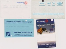 Lot De 4 Tickets De Parking Ville De Toulouse (31) Années 2000 à 2002 - Tickets - Vouchers