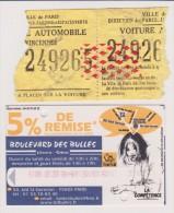 Lot De 2 Tickets De Parkings Paris Et Parcs Jardins Publics Parisiens Débuts 2000 - Tickets - Vouchers