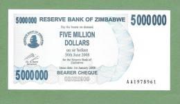 ZIMBABWE P54  5.000.000  DOLLARS 1.1.2008 To  30.6.2008  #AA Signature 5  UNC. - Zimbabwe