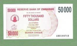 ZIMBABWE P47  50.000   DOLLARS   1.3.2007 TO 31.7.2007  UNC. - Zimbabwe