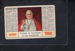 P5030 CALENDARIO FORMATO PICCOLO: PAPA GIOVANNI XXIII ANNO 1968 - ED. CASA MISSIONARI DI GENOVA - Calendriers