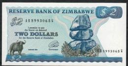 ZIMBABWE P1d 2 DOLLARS 1994 #AB-W Signature 3  TYPE B   * RARE * UNC. - Simbabwe