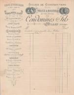 Facture 189? CONDOMINES Atelier Constructions Pompes & Machines MILLAU Aveyron - Verso écrit - Frankrijk