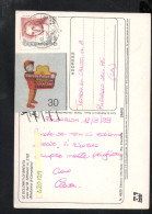 P5035 ERINNI ERINNOFILIA: CARRELLO FELICE SUPERMERCATO CONAD SU CARTOLINA DOLOMITI DI BRENTA, ITALIA - Erinnofilia