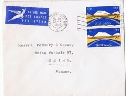AF-L27 - AFRIQUE DU SUD N° 301-305 Sur Lettre Par Avion Pour Reims - Afrique Du Sud (1961-...)