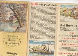 B1580 - SHELL STRASSENKARTE N.8 GERMANIA - GERMANY - BERLIN BRANDENBURG - RHEINSBERG Anni '30 - Carte Topografiche