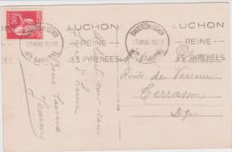 Paix 50ct Bagneres Luchon 1935 Lac D'oo Grande Cascade Pic Queyrat - 1932-39 Frieden