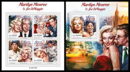SIERRA LEONE 2015 - Marilyn Monroe And J. DiMaggio, M/S + S/S. Official Issue. - Film