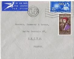 """AF-L35 - AFRIQUE DU SUD N° 260-293 """"Calvin Et Infirmière"""" Sur Lettre Par Avion Pour Reims - Theologians"""