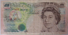 STERLINA INGLESE DA 5 POUNDS - 1952-… : Elizabeth II.