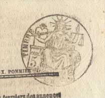 JOURNAL L'ASSEMBLEE NATIONALE Complet Du 20 Octobre 1850 Timbre Humide 5 C Noir  SEINE (fiscal/postal) SUP - 1849-1876: Periodo Clásico
