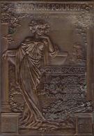 Plaque En Métal Cuivre Ou Laiton Commémorative Champagne Pommery Reims Numérotée - Capsules