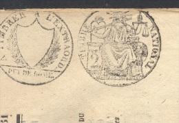 JOURNAL LE GLANEUR DE L´ALLIER Complet Du 27 Mars 1851 Timbre Humide 2 C Noir + Griffe Puy De Dôme (fiscal/postal) TTB - Marcophilie (Lettres)