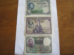 ESPAGNE LOT DE 3 BILLETS - [ 1] …-1931 : First Banknotes (Banco De España)