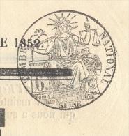 JOURNAL L´ESPERANCE Complet Du 21 Octobre 1852 Timbre Humide 6 C Noir SEINE(fiscal) SUP - 1849-1876: Période Classique