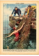 1949 Italian Magazine  Exceptional Fishing At OOSTENDE Ostende Vlaanderen Flandre  Flandres Belgium  LITHO - Avant 1900