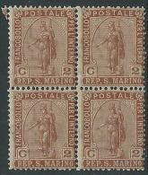 1899 SAN MARINO STATUA DELLA LIBERTA 2 CENT QUARTINA MNH ** - M10-6 - Saint-Marin