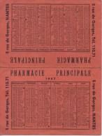 Calendrier 1957  Offert Par La Pharmacie Principale 5 Rue De Gorges NANTES - Calendriers