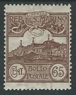 1903 SAN MARINO VEDUTA 65 CENT MH * - M3-8 - San Marino