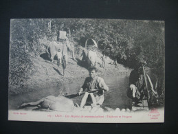 """CPA  Laos  """"  Les Moyens De Communications  :  Elephants Et Pirogues """" - Laos"""