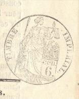 JOURNAL L´ESPERANCE Complet Du 21 Novembre 1856 Timbre Humide 6 C Noir  SEINE(fiscal) SUP - 1849-1876: Période Classique