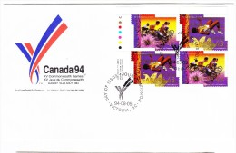 1994 Canada Commonwealth Games 43c Plate Block First Day Cover - 1991-2000