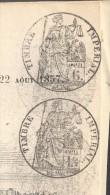 JOURNAL L'ILLUSTRATION Couverture Du 22 Août 1857 Timbre Humide 6 C Et 1.5 C Noirs SEINE(fiscal) TB - Marcophilie (Lettres)