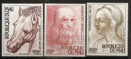 Mali 1977 N° 291 / 3 ** Tableau, Dessin, Léonard De Vinci, Tête De Cheval, Autoportrait, Jeune Femme, Laideur, Animal - Mali (1959-...)