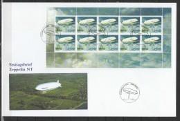 Switzerland 2004 Zeppelin Sheetlet On FDC - Zeppelins