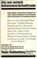 Original-Werbung/ Anzeige 1928 - POSTKARTENSERIE FÜR KUNSTFREUNDE / RAABE - BUCHHANDLUNG BRAUNSCHWEIG - Ca. 65 X 110 Mm - Publicités